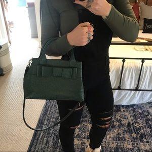 Like New KATE SPADE Ostrich Green Leather Handbag